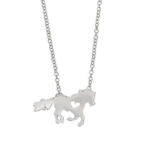 JN908 Pony with Heart Necklace