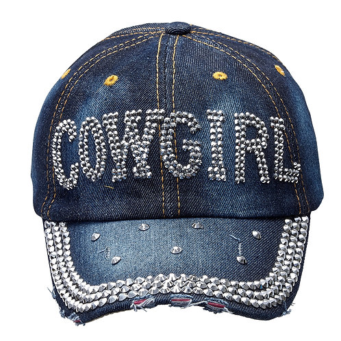 "AC241 Denim & Silver Bling ""Cowgirl"" Cap"