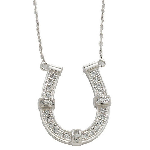 JN1678 Rhodium & CZ Horseshoe Necklace