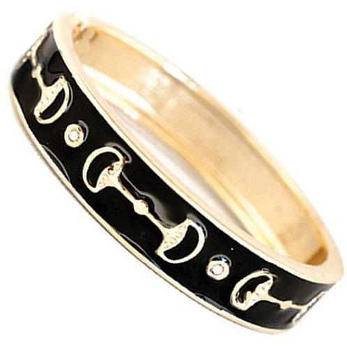 Black Enamel Snaffle Bit Bracelet