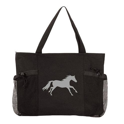 "GG950 Black ""Lila"" Galloping Horse Convenience Tote"