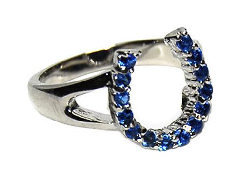 JR299 Rhodium & Sapphire Horseshoe Ring
