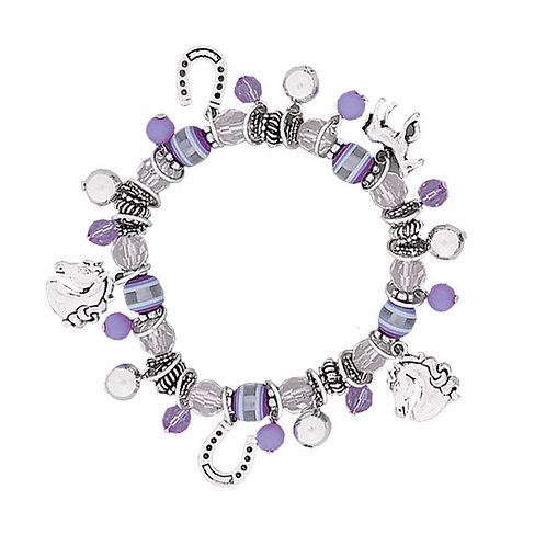 JB5338PU Purple Bead and Horse Charm Bracelet