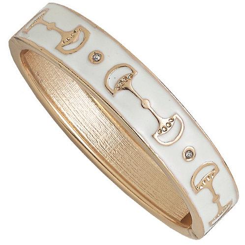 JB9448WH White Enamel Snaffle Bit Bracelet