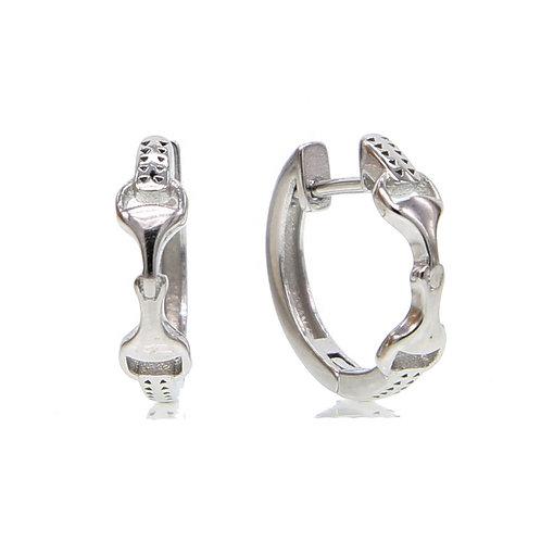 JE675 Sterling Silver Snaffle Bit Hoop Earrings