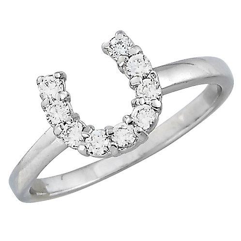 JR5320 Sterling Silver & CZ Horseshoe Ring