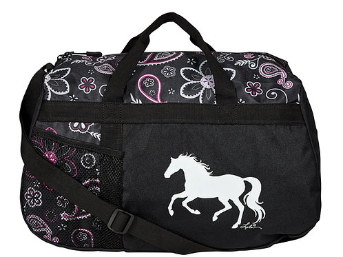 """GG823C White Paisley Duffle with """"Lila"""" Horse"""