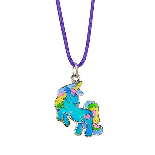 JN42 Rearing Unicorn Mood Necklace