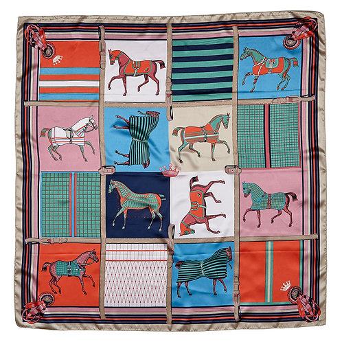 GG1219MU Silky Scarf, Horses in Blankets, Multi