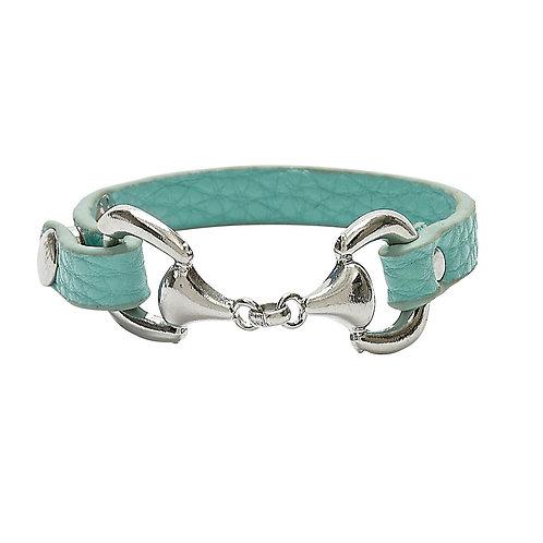 Snaffle Bit Bracelet with Turquoise Band