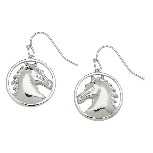 JE6822 Round Horse Head Earrings