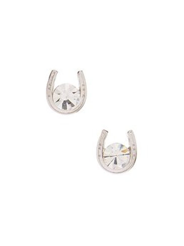 JE127 Sterling Silver & CZ Horseshoe Earrings