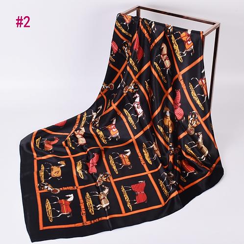 Silky Scarf,  Horses in Blankets, Black