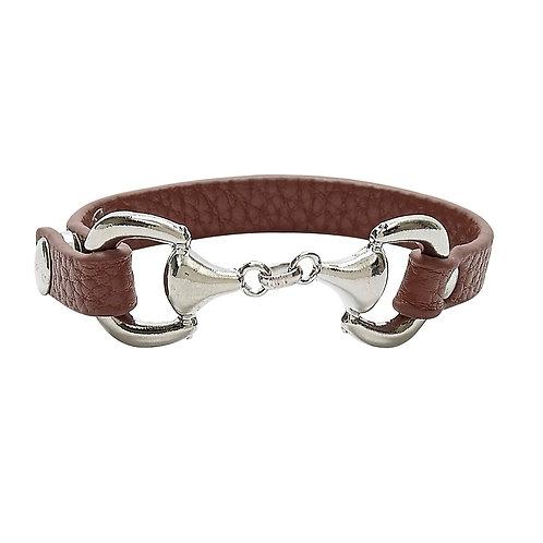 JB4900BR Faux Leather Snaffle Bit Bracelet, Brown
