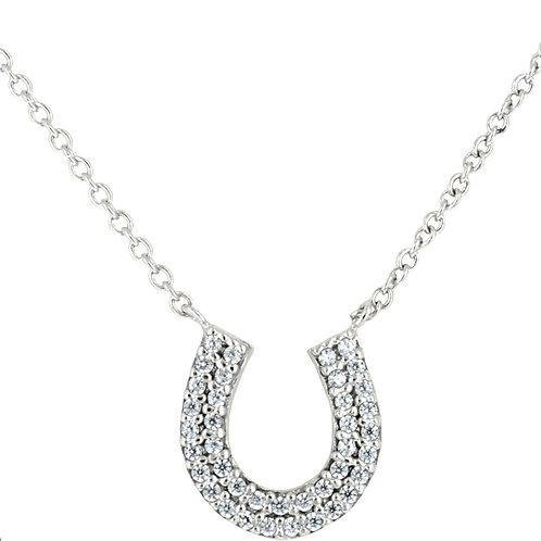 JN3090 Rhodium & CZ Horseshoe Necklace