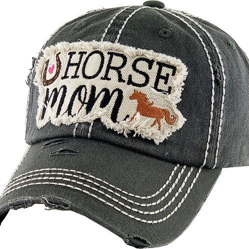 "AC263BK ""Horse Mom"" Cap, Black"