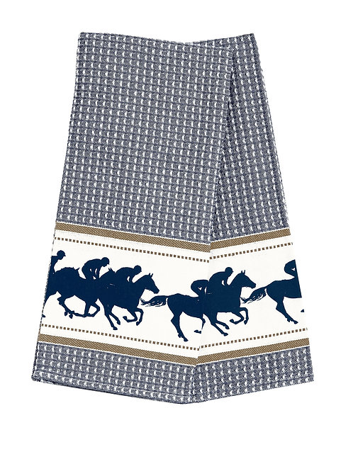 Waffle Weave Race Horses Kitchen Towels - Set of 2