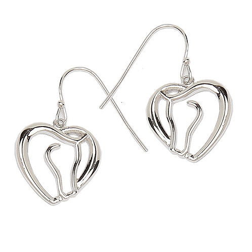 JE6801 Horse Head & Heart Earrings