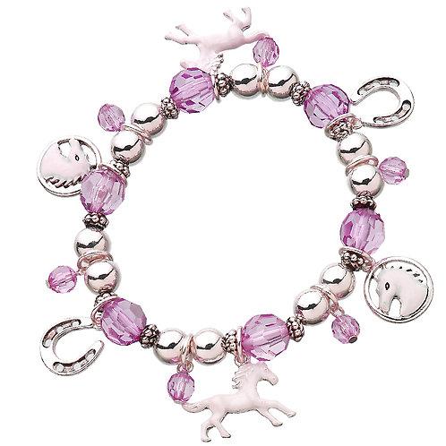 JB3093PK Pink Bead Charm Bracelet
