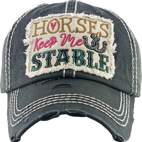 """AC266BK """"Horses Keep Me Stable Cap, Black"""