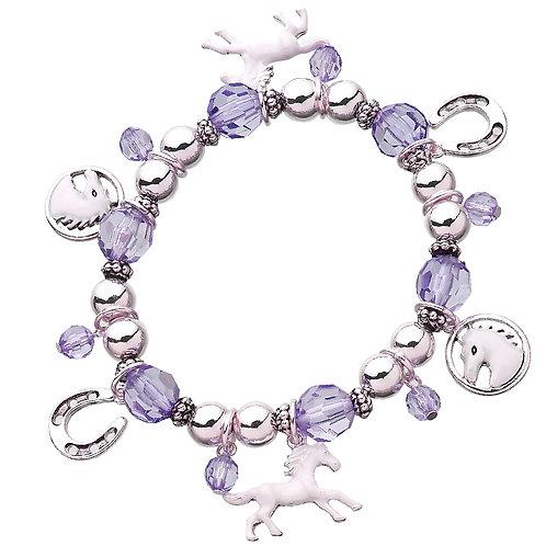 JB3093PU Purple Bead Charm Bracelet