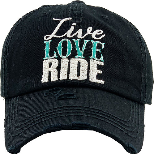 AC262BK Live, Love, Ride Cap, Black