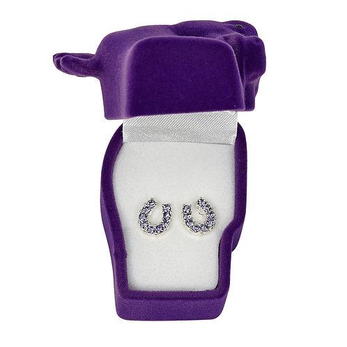 JE898PU Purple Horseshoe Earrings