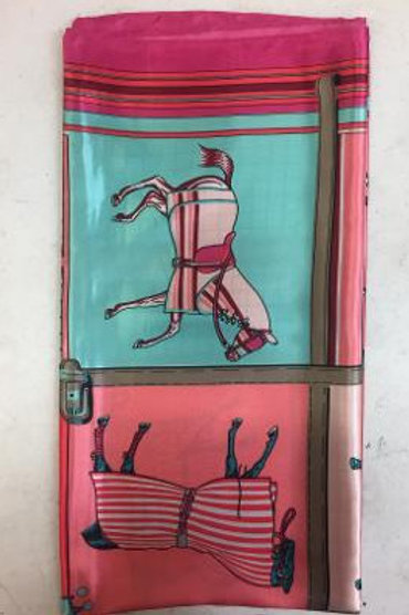 GG1219PK Silky Scarf, Horses in Blankets, Pink