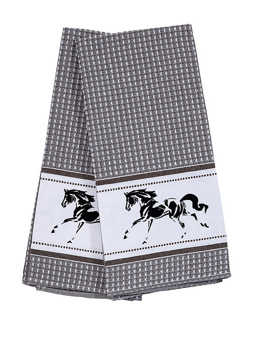 Waffle Weave Running Horse Kitchen Towels - Set of 2