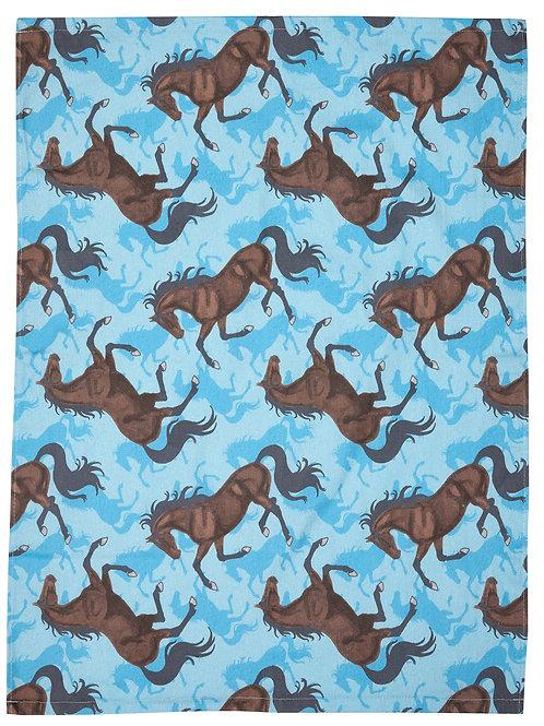 "GG396 ""Lila"" Bay Horses Flour Sack Kitchen Towel Turquoise"