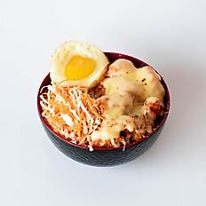 Chicken Mentai with egg and salad