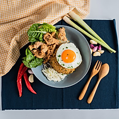 Fried Rice with egg and fried chicken