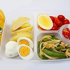 Boiled egg with cherry tomato and potato,salad,and banana