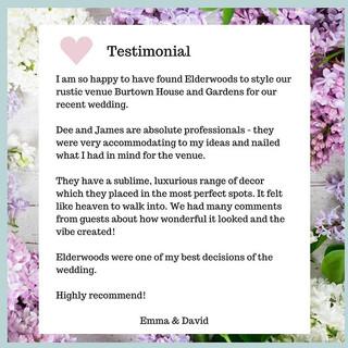 Wedding decoration testimonial