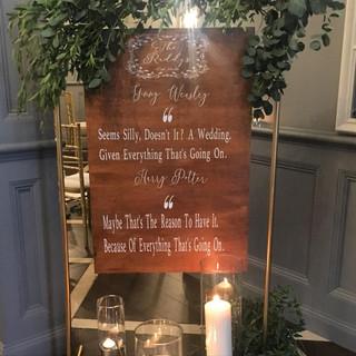Bespoke Personalised Harry Potter Wedding Quote