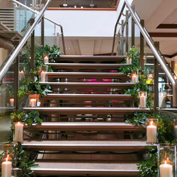 Rustic bridal stairs décor