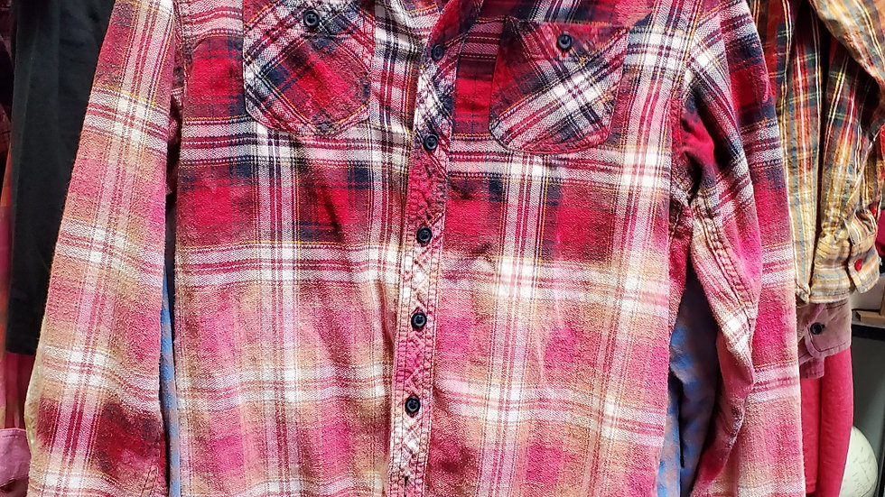 One of a kind reverse dyed flannel