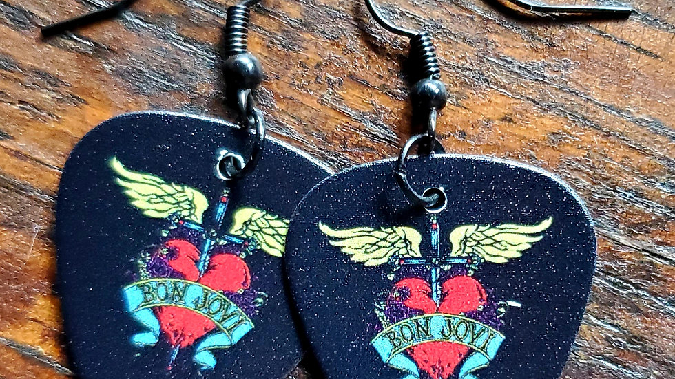 Handmade Bon Jovi guitar pick earrings