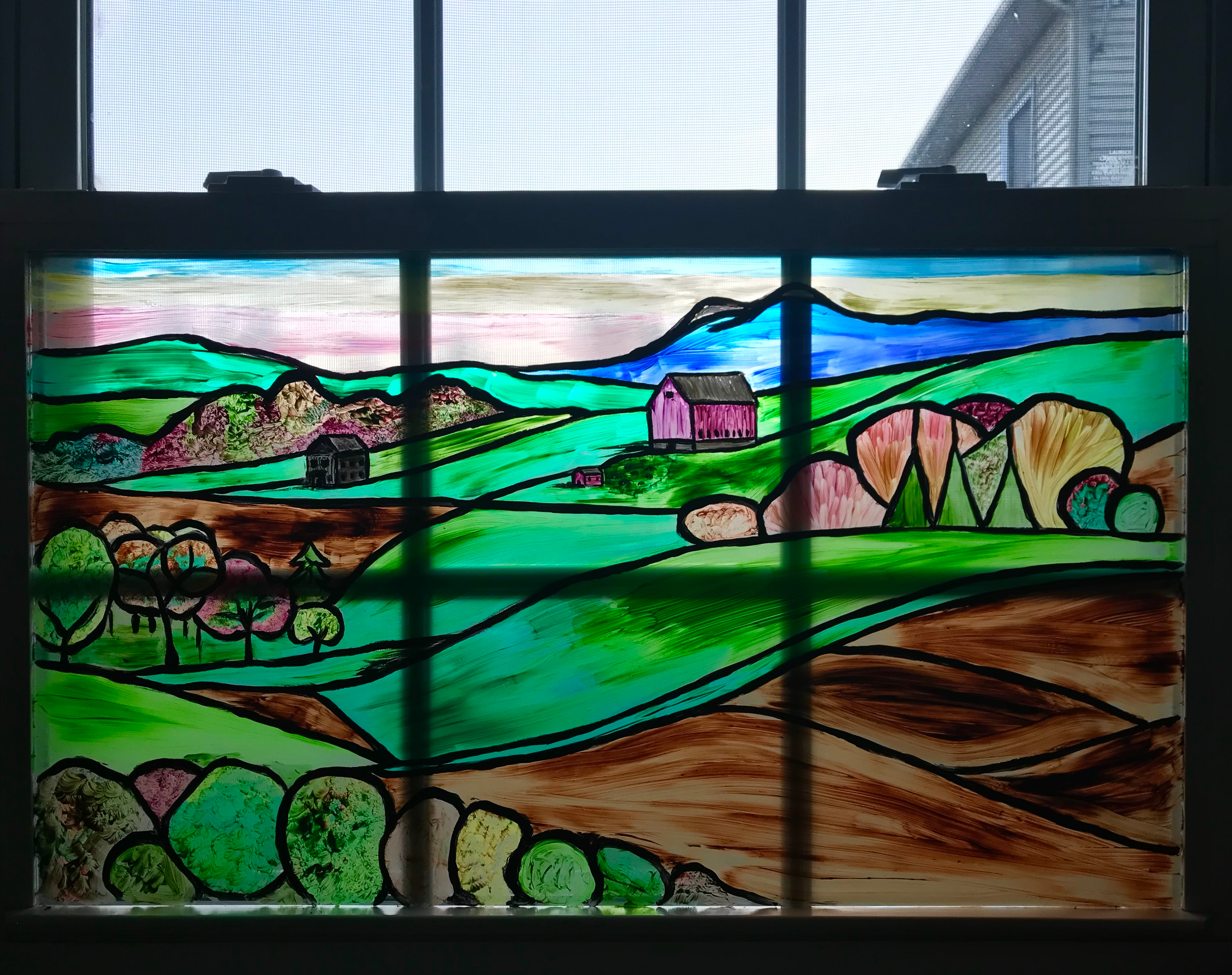 Glass Painting - Rolling Hills