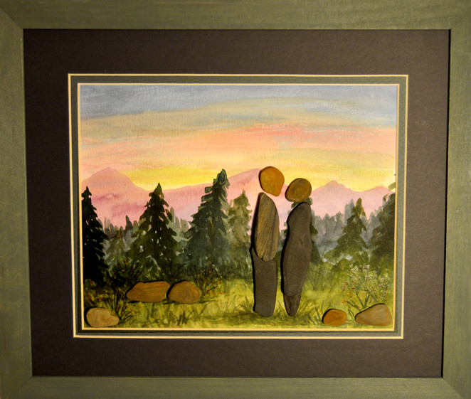 Sunset Evergreens and Couple