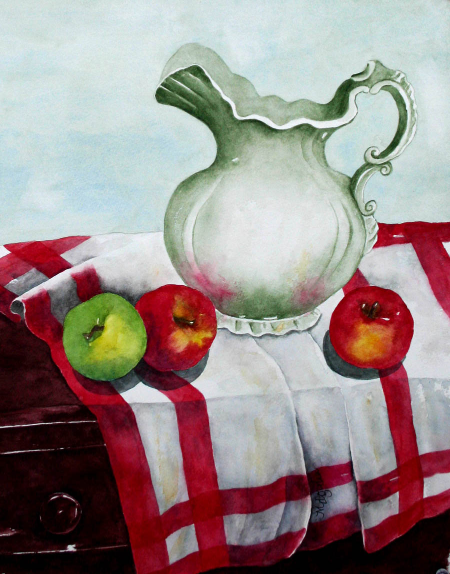 Ironstone Pitcher with Apples on Vintage Cloth
