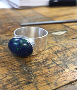 Hammered Lapis Ring