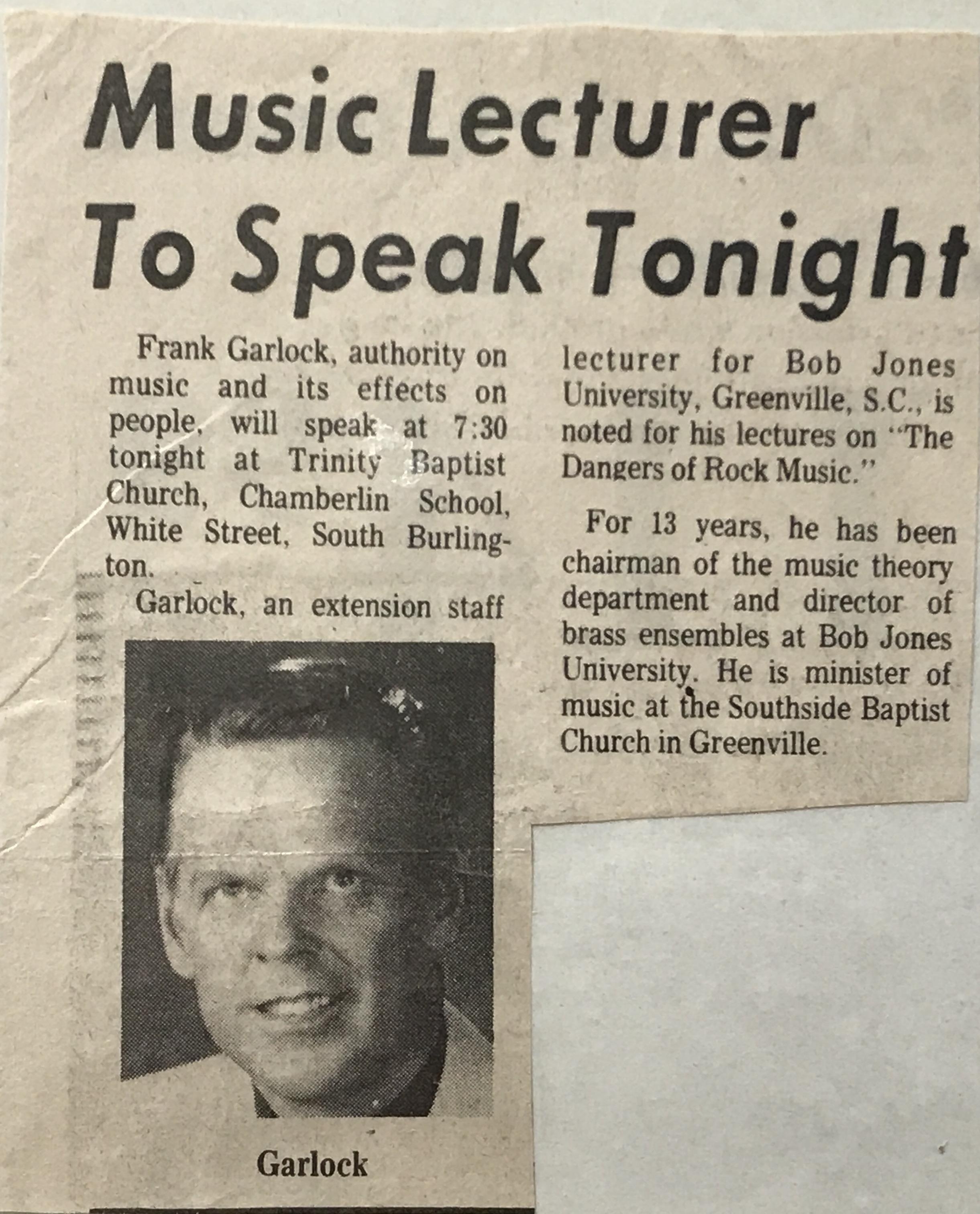 Frank Garlock, Speaker