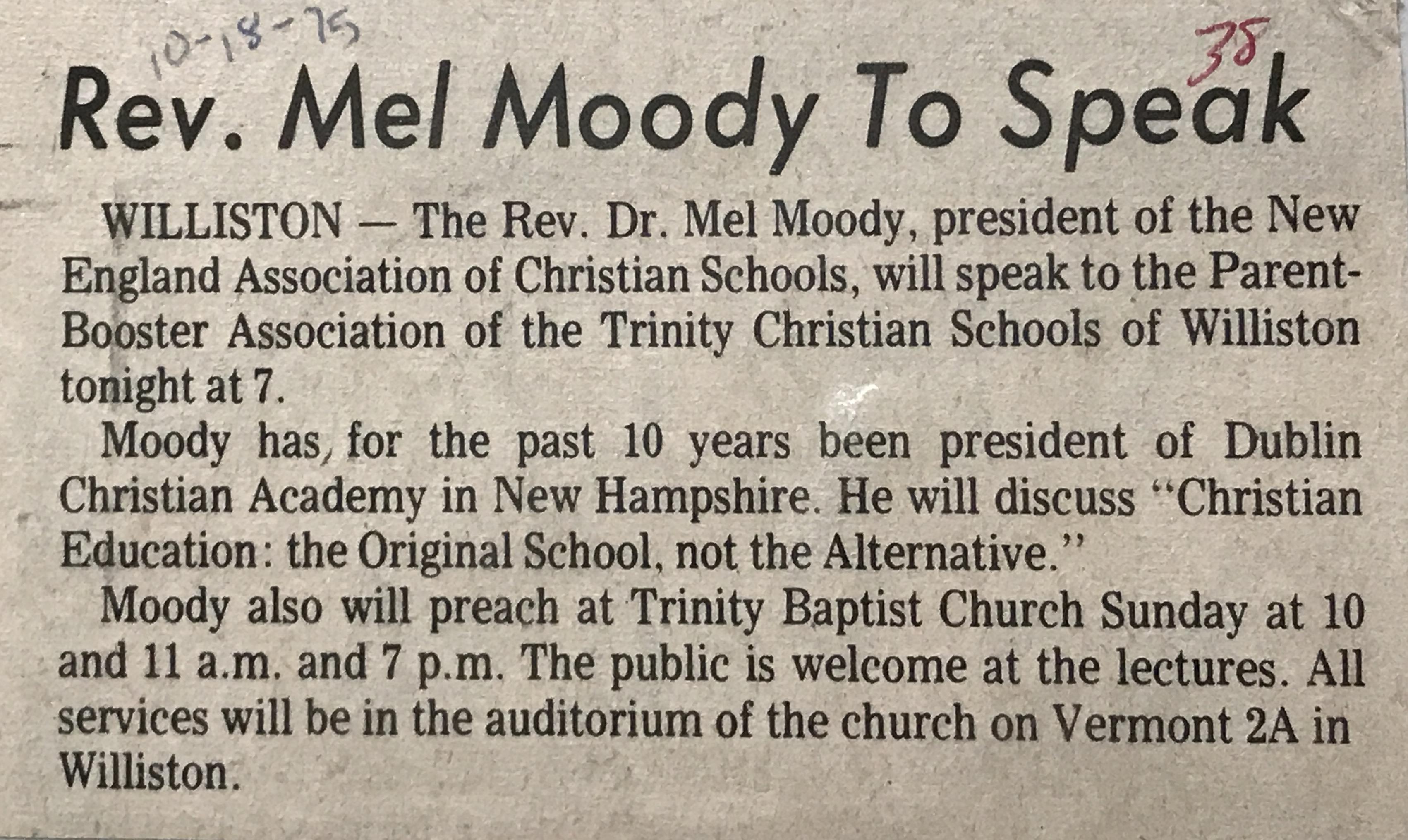 Dr. Mel Moody, Speaker