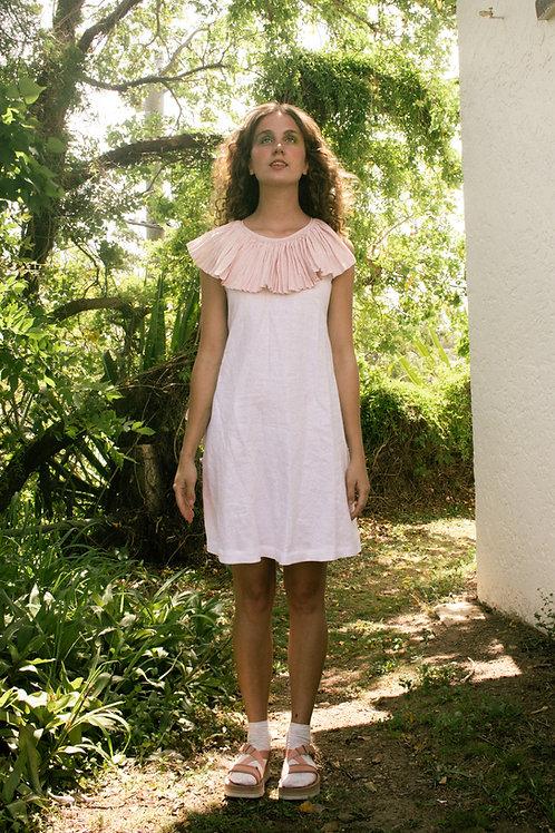 RUFF DRESS - pink/ white