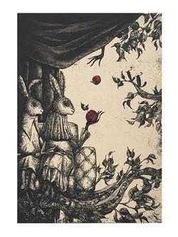 Two Hares in the Velvet Woods