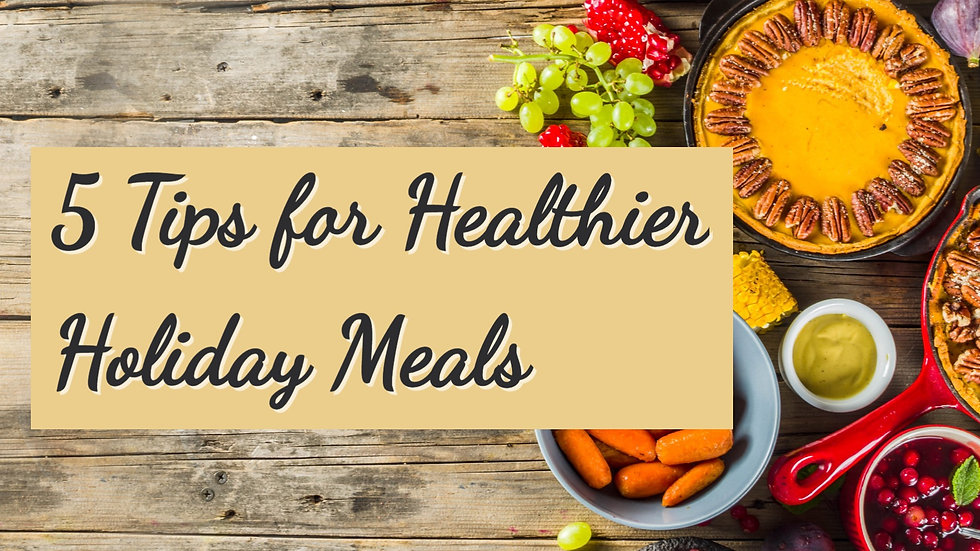 "A table with several holiday dishes and text stating: ""5 Tips for Healthier Holiday Meals"""