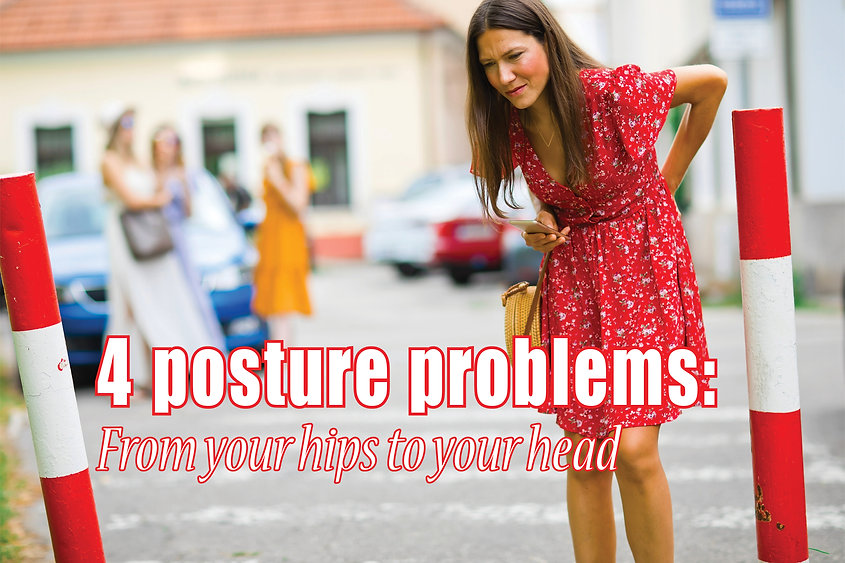 """A woman in a red dress standing and holding her back as if she's in pain. The text reads: """"4 Posture Problems: From Your Hips to Your Head""""."""