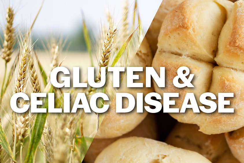 """A image combining a field of wheat and a basket of rolls with the text """"Gluten and Celiac Disease"""" overlayed."""