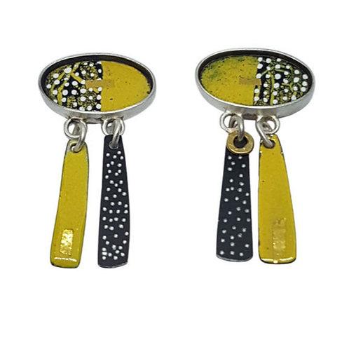 Short drop sunflower earrings
